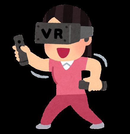 VRゲームをプレイする人のイラスト(女性・モーションコントローラー)