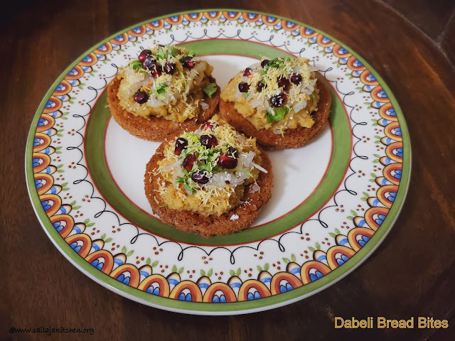 images of Dabeli Bread Coins / Dabeli Topping On Fried Bread Bites / Dabeli Bites / Dabeli Bread Bites
