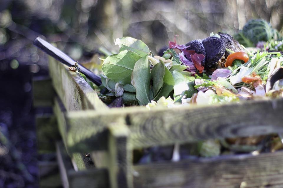 Añadir capas de hojas secas a los restos de compost casero