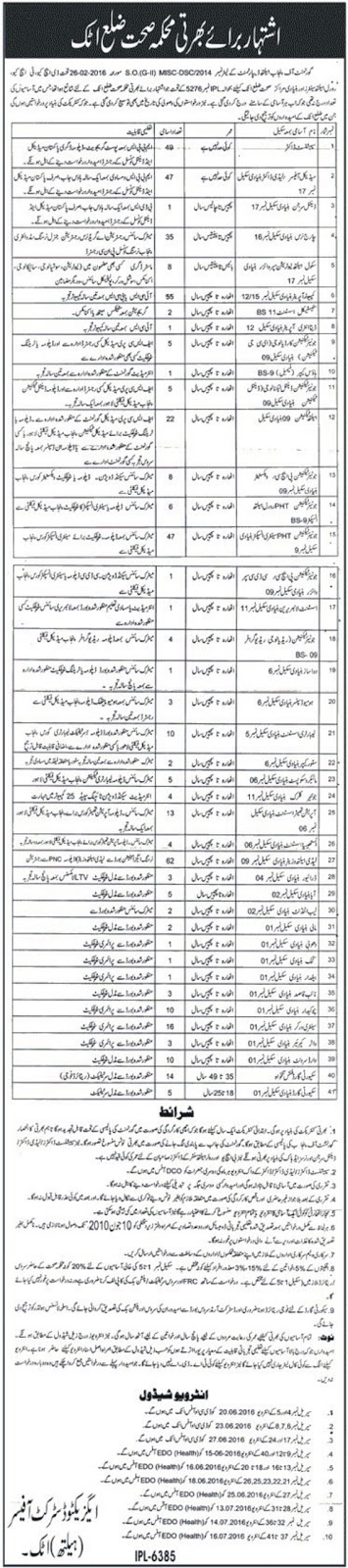 MBBS Doctors, BDS, Nurses and Paramedics Staff Jobs in Pakistan District Atock