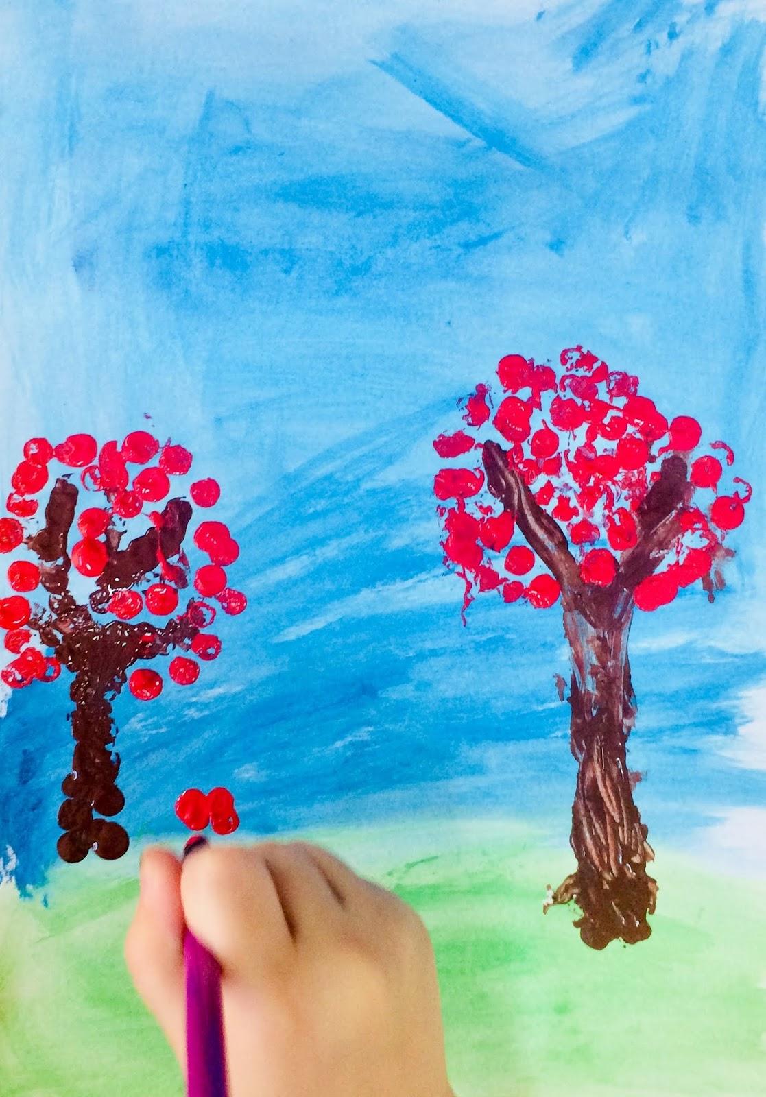 """Punctul, element de limbaj plastic: """"Copaci înfloriți"""""""