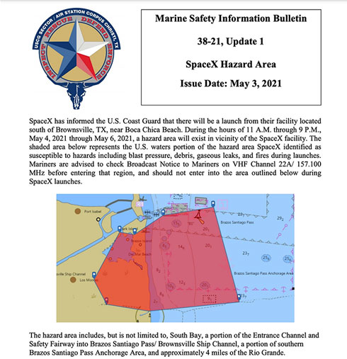 Marine safety bulletin for Boca Chica area during Starship launches (Source: USCG)