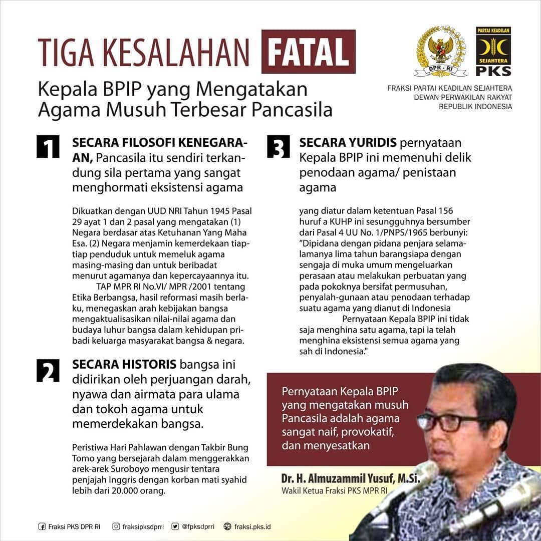 PKS Bongkar Tiga Kesalahan Fatal Kepala BPIP Sebut Agama Musuh Utama Pancasila