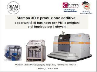 Stampa 3d e produzione additiva: opportunità di business per PMI, artigiani di impiego per i giovani
