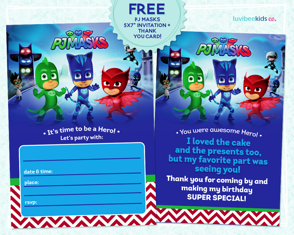 PJ Masks Invitation Printable