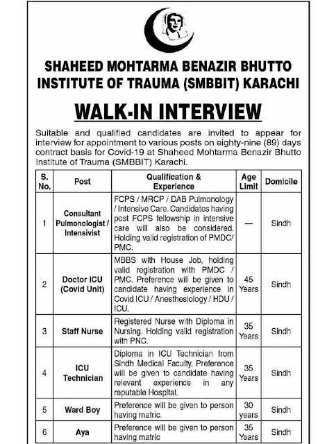 SHAHEED MOHTARMABANAZIR BHUTTO INSTITUTE OF TRAUMA (SMBBIT), KARACHI, LATEST JOBS, JOBS IN KARACHI,شہید محترمہ بینظیر بھٹو انسٹی ٹیوٹ آف ٹراما (ایس ایم بی بی آئی ٹی) ، کراچی  ملازمتیں