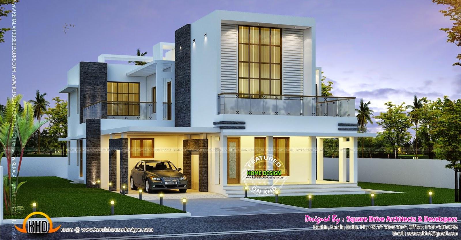 Contemporary home night view - Kerala home design and