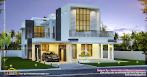 Contemporary Home Night View - Kerala Design And