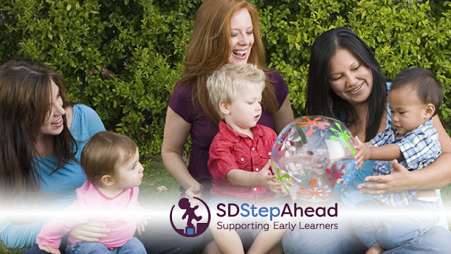 photo of moms and baby/toddlers with SD Step Ahead logo