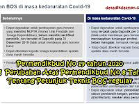 Permendikbud No 19 tahun 2020 Tentang  Perubahan Atas Permendikbud No 8 Tahun 2020 Tentang Petunjuk Teknis BOS regular