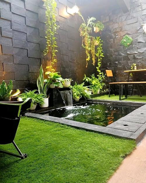 gambar kolam cantik dan taman yang indah