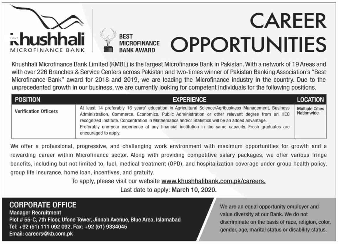 Khushhali Micro finance Bank 2020 Jobs for Verification Officers