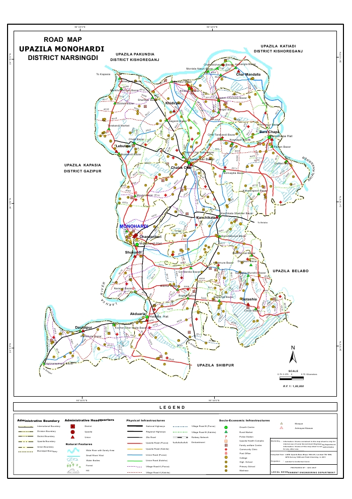 Monohardi Upazila Road Map Narsingdi District Bangladesh