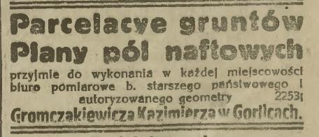 grunty pola naftowe Gorlice 1922