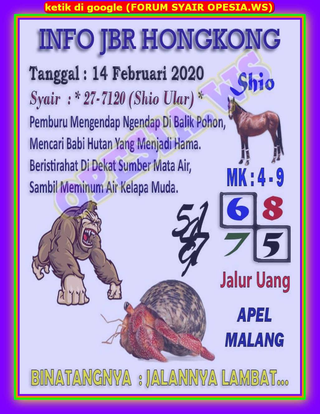 Kode syair Hongkong Jumat 14 Februari 2020 2