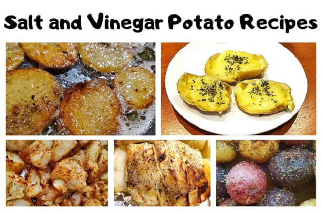 this is a collage of salt and vinegar potato recipes