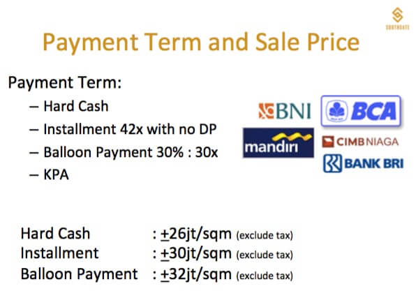Payment Term & Price list harga SOUTHGATE