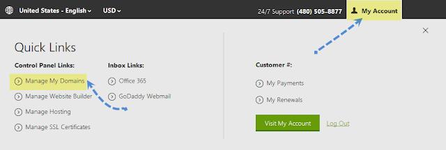 godaddy manage domains setup custom domain