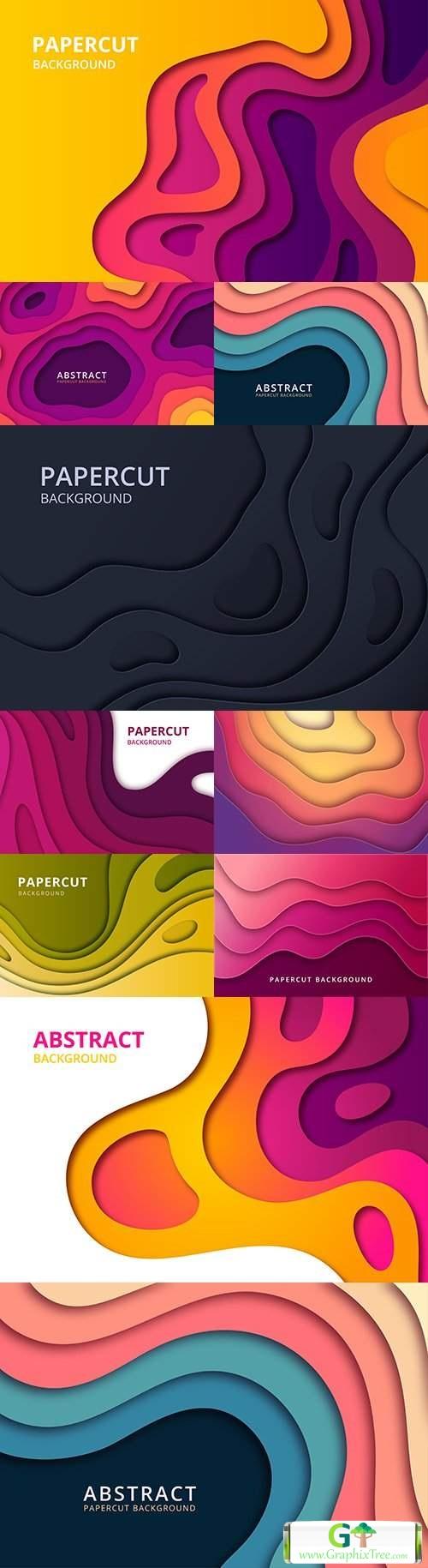 Abstract papercut geometric decoration shape background