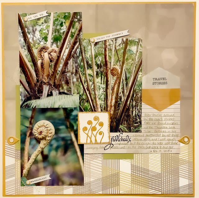 Quietfire Design's Fiddlehead stamp set / scrapbooking layout by Kim Gowdy