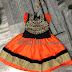 Orange Black Small Kid Lehenga