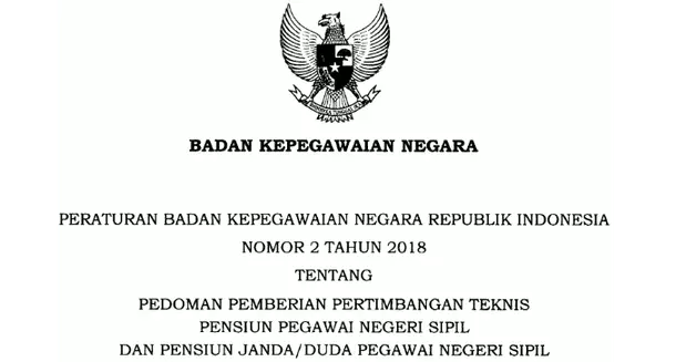 Peraturan BKN Nomor 2 Tahun 2018 Pedoman Pemberian Pertimbangan Teknis Pensiun PNS dan Pensiun Janda-Duda PNS