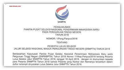 Download Daftar Siswa Yang Lulus SNMPTN Tahun 2018