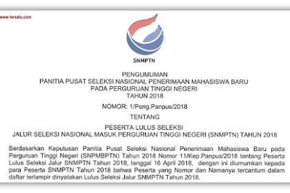 Daftar Siswa Yang Lulus SNMPTN Tahun 2018