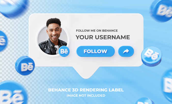 Banner Icon Profile Behance 3D Rendering Label Template