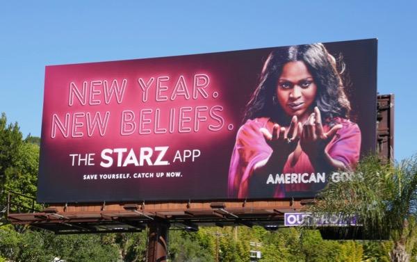 American Gods Bilquis New Year Beliefs Starz billboard
