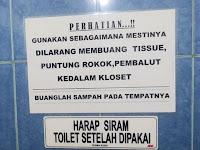 Penggunaan kata yang baku: Tisu, Kloset, Toilet