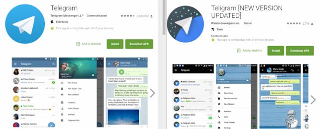 تطبيق مزور على نسخة تيليجرام الحقيقية في متجر غوغل بلاي