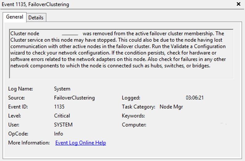 WSFC - Event ID 1135/1177/1564 FailoverClustering