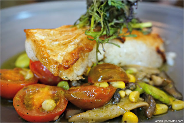 Dine Out  Bistro Du Midi: Hake, chanterelle mushrooms, sweet corn, fava beans, lemon verbena oil