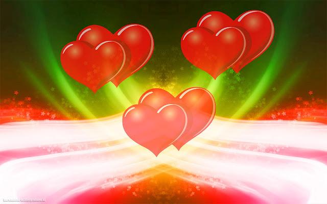 Prachtige kleuren, lichten en rode liefdes hartjes