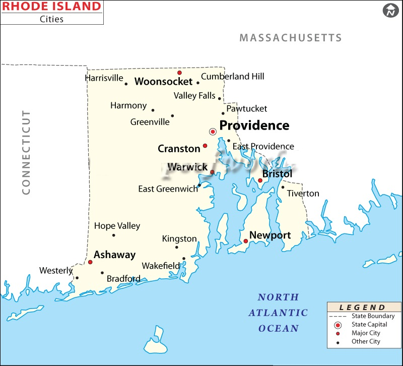 Map of Rhode Island | State Map of America