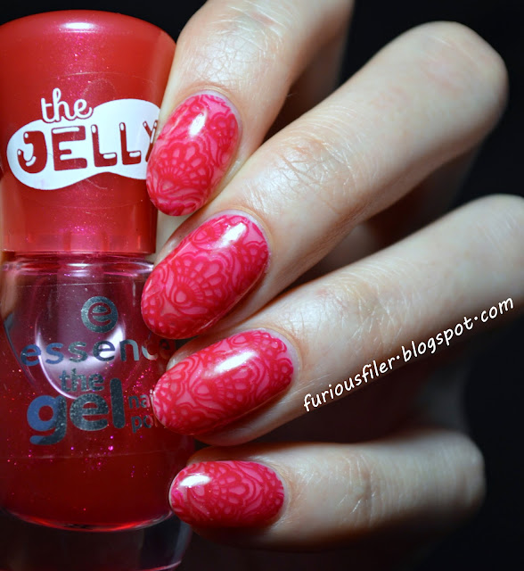 Red lace MoYou stamp jelly polish