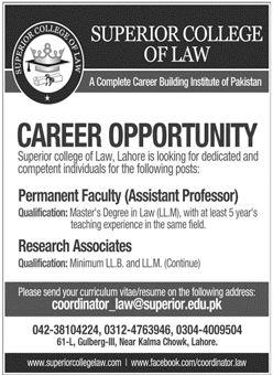 Superior College of Law Lahore Jobs
