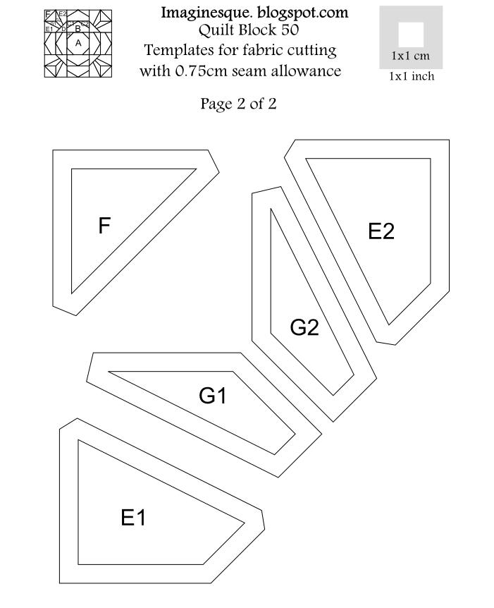 Imaginesque: Quilt Block 50: Pattern & English Paper