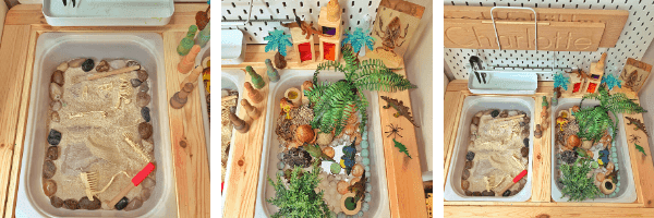 Dinosaur Island play tray fossil flisat table activity