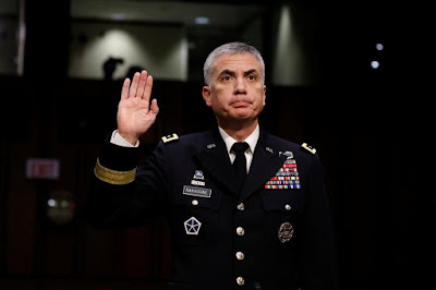 Lieutenant General Paul Nakasone, nominee to lead the National Security  Agency and US Cyber Command, is sworn in before the Senate Intelligence  Committee on ...