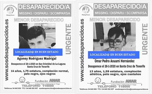 Agoney Rodríguez y Omar Pedro Aouami los menores desaparecido en tenerife localizados buen estado