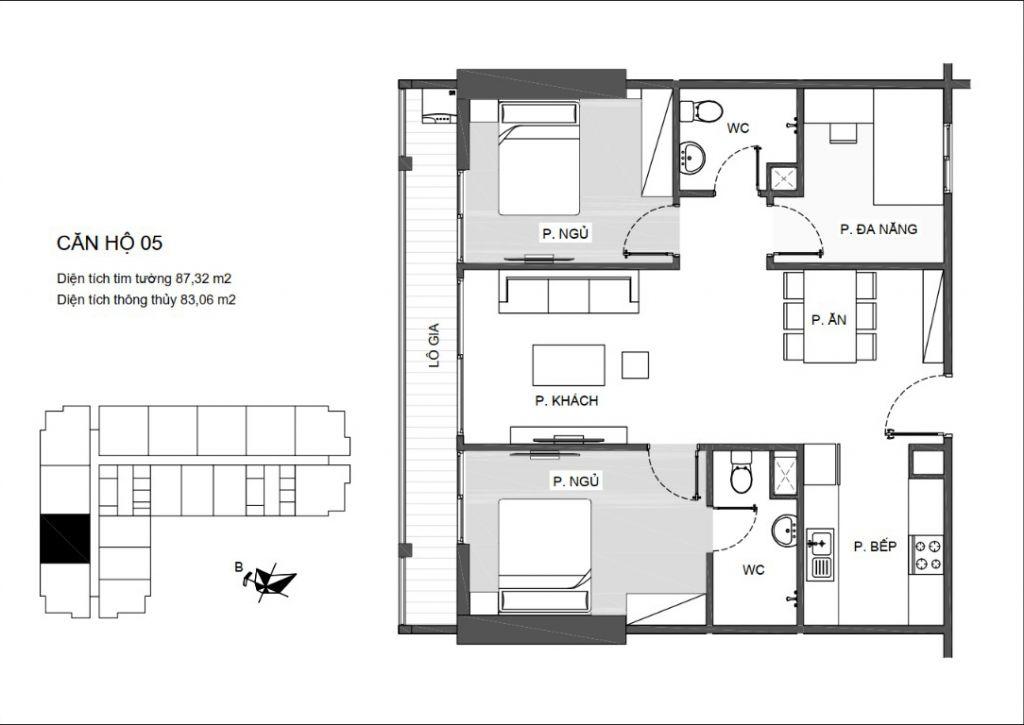 Mã căn 05 - Thiết kế căn hộ An Bình Plaza