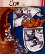 Detalle del Libro de Maximiliano donde aparece el emblema leonés original junto a su escudo actual