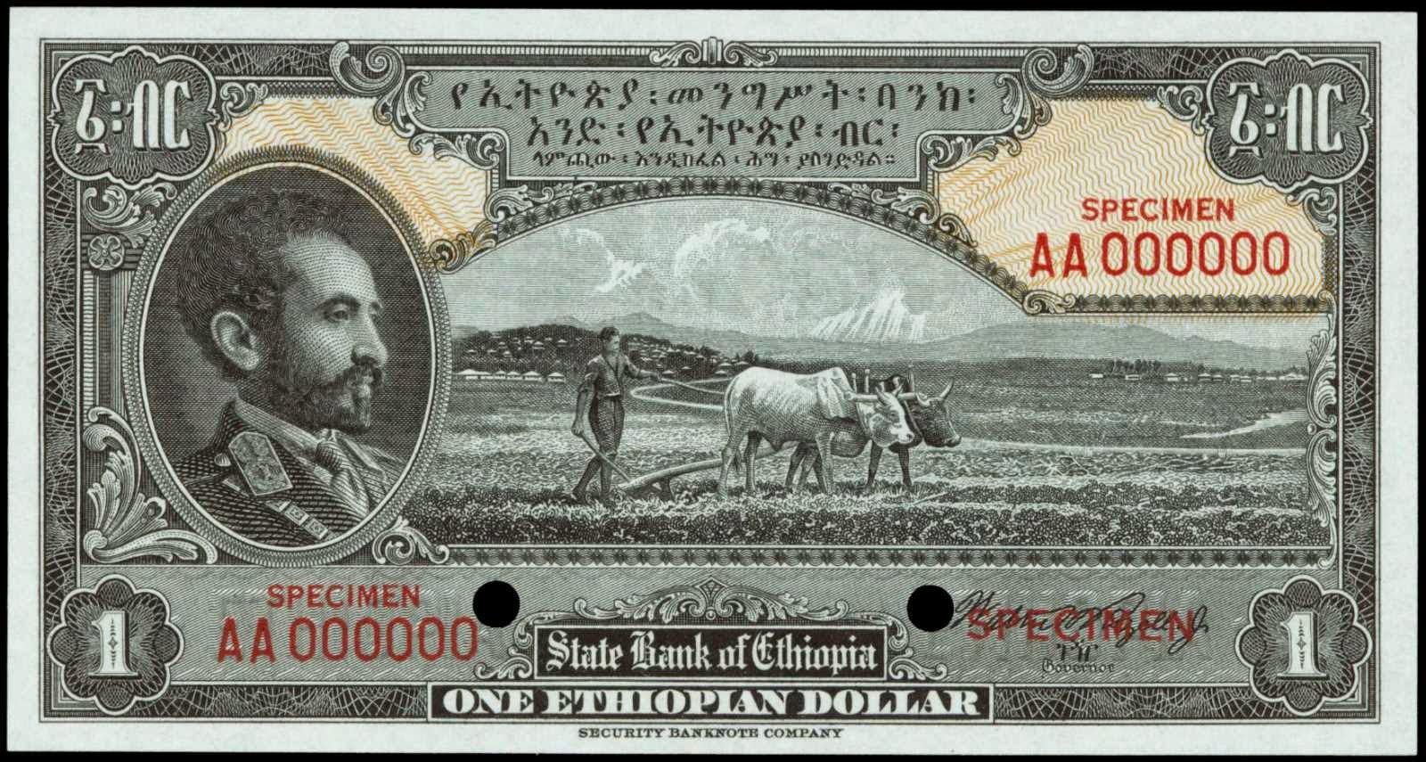 Ethiopia banknotes Dollar note 1945 Emperor Haile Selassie