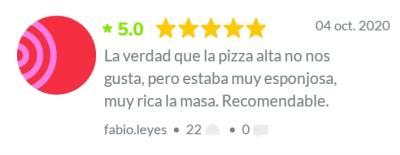 Reseña de clientes pizzería la familia