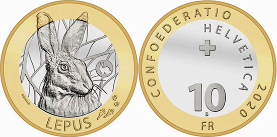 Switzerland 10 francs 2020 - Hare (Lepus)