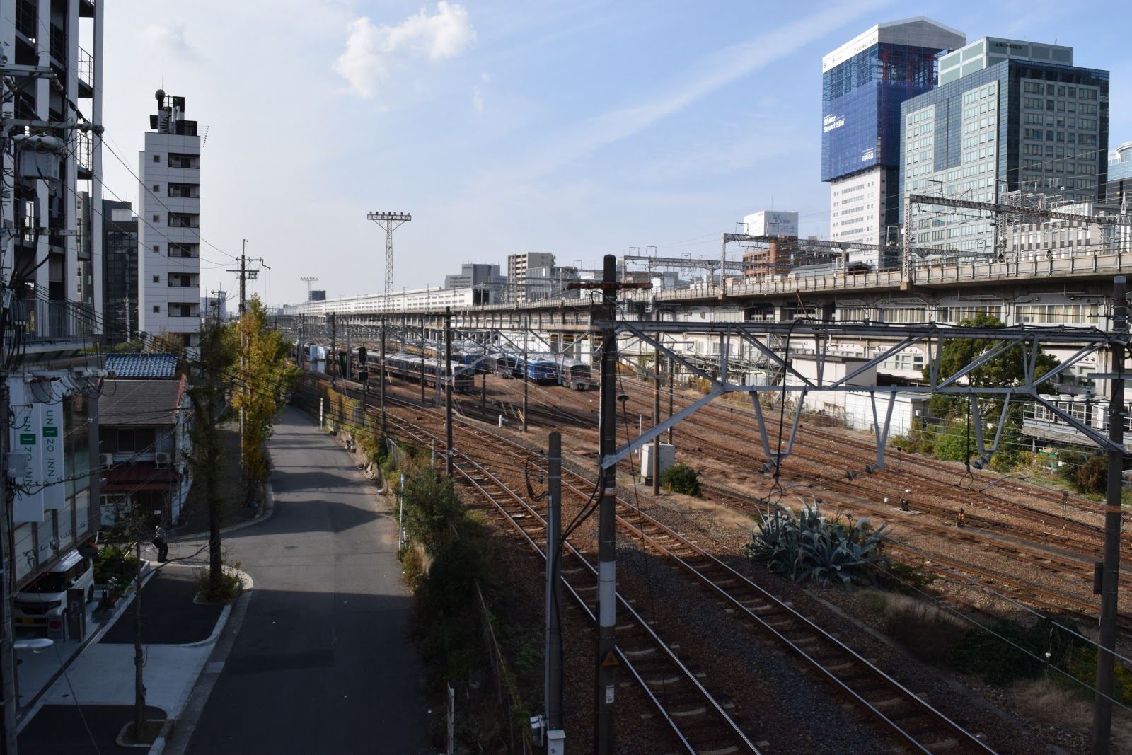 train tracks and buildings at Shin Osaka