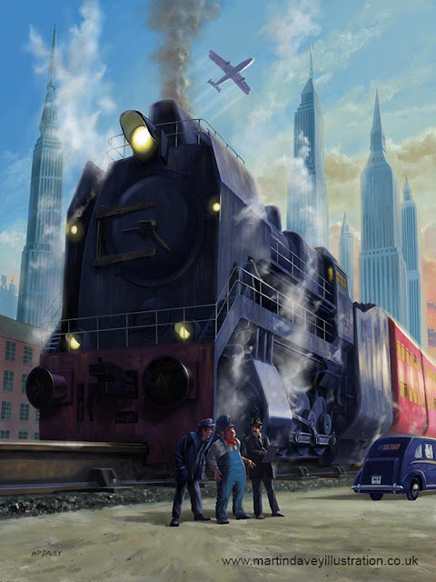 illustration big railroad engine departing city by Martin Davey