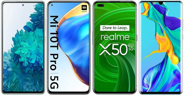 Samsung Galaxy S20 FE 4G vs Xiaomi Mi 10T Pro vs Realme X50 Pro vs Huawei P30 Pro